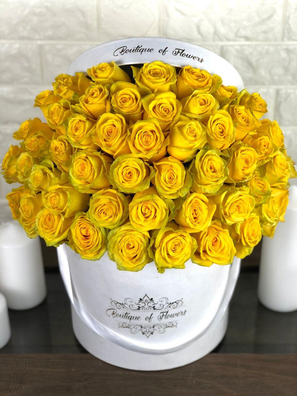 50 yellow rose round box