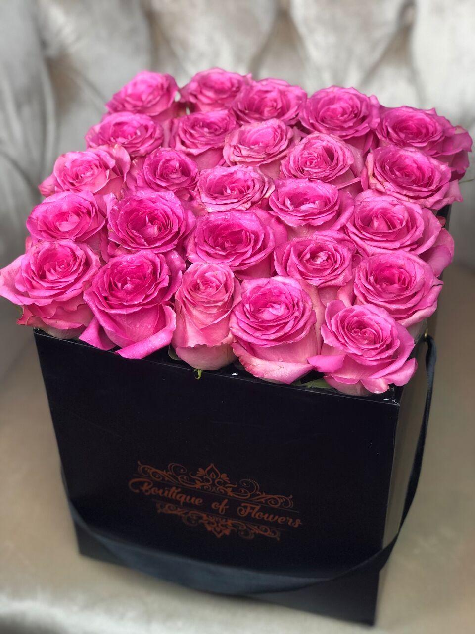 bright pink rose square box